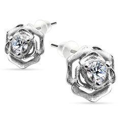 Ohrstecker 925 Sterling Silber Damen Ohrringe Rose Blume Blüte Zirkonia Kristall Geschenk