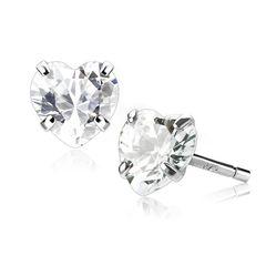 Ohrstecker 925 Sterling Silber Damen Ohrringe Herz Heart Zirkonia Kristall Geschenk