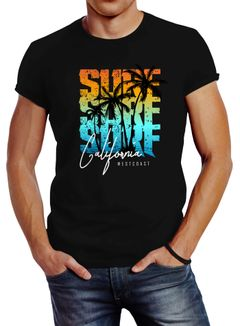 Herren T-Shirt Sommer Surf California Palmen Slim Fit Neverless®