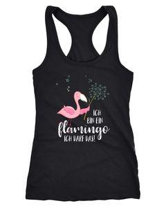Damen Tanktop Flamingo Ich bin ein Flamingo ich darf das Spruch Pusteblume Racerback Moonworks®