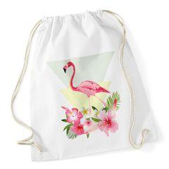 Turnbeutel Flamingo Polygon Blumen Flower Beutel Tasche Jutebeutel Gymsac