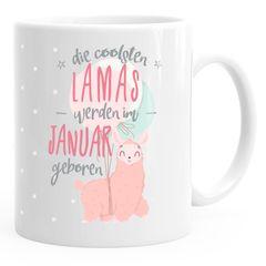 """Kaffee-Tasse die coolsten Lamas werden im """"Wunschmonat"""" geboren Geschenk Geburtstag MoonWorks®"""