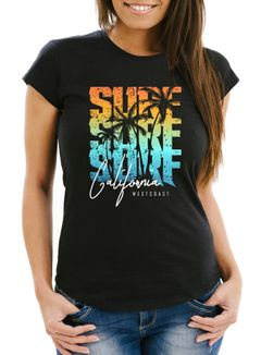 Damen T-Shirt Sommer Surf California Palmen Slim Fit Neverless®
