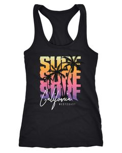 Damen Tank-Top Sommer Surf California Palmen Racerback Neverless®