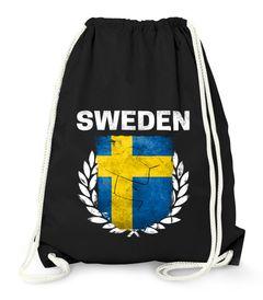 Turnbeutel Fußball EM WM Schweden Vintage Flagge Sweden Flag Gymbag Moonworks®