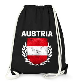 Turnbeutel Fußball EM WM Österreich Vintage Flagge Austria Flag Gymbag Moonworks®