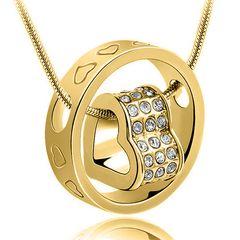 Damn Halskette Herz im Ring Collier Strass Zirkonia Herzen Kristall Anhänger