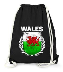 Turnbeutel Fußball EM WM Wales Flagge Vintage Flag Gymbag Moonworks®