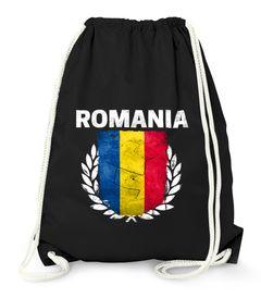 Turnbeutel Fußball EM WM Rumänien Flagge Vintage Romania Flag Gymbag Moonworks®