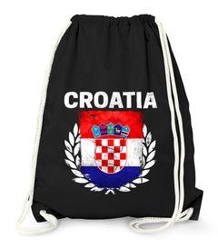 Turnbeutel Fußball EM WM Kroatien Flagge Vintage Croatia Flag Gymbag Moonworks®