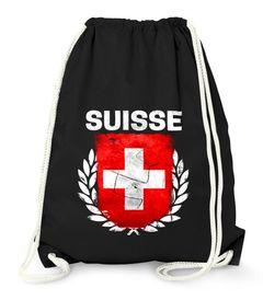 Turnbeutel Fußball EM WM Schweiz Flagge Vintage Swiss Suisse Flag Gymbag Moonworks®