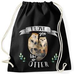 Turnbeutel Geschenk-Beutel Otter Pärchen I love you like no otter Geschenk Liebe Spruch Moonworks®