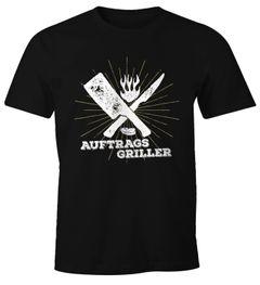 Herren T-Shirt Auftragsgriller Fun-Shirt Grill-Shirt BBQ Moonworks®