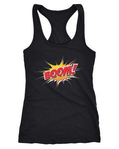Damen Tanktop Comic Boom Racerback Moonworks®