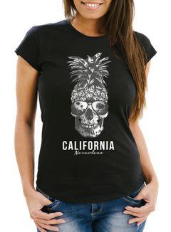 Cooles Damen T-Shirt PineappleSkull Sonnenbrille Ananas Totenkopf Slim Fit Neverless®