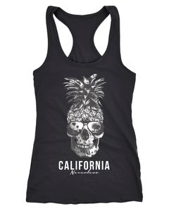 Cooles Damen Tank-Top Pineapple Skull Sonnenbrille Ananas Totenkopf Slim Fit Neverless®