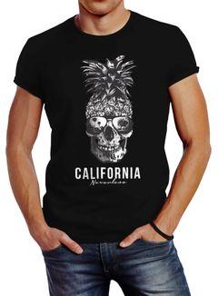 Cooles Herren T-Shirt Pineapple Skull Sonnenbrille Ananas Totenkopf Slim Fit Neverless®