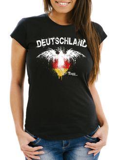 Damen T-Shirt Fanshirt Deutschland Adler Fußball EM WM Slim Fit MoonWorks®
