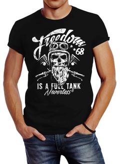 Herren T-Shirt Biker Motorrad Motiv Freedom is a full Tank Skull Totenkopf Slim Fit Neverless®