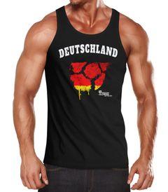 Herren Tanktop Deutschland Fanshirt EM WM Fußball Vintage Ball MoonWorks