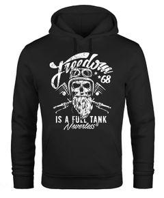 Herren Long-Sleeve Biker Motorrad Motiv Freedom is a full Tank Skull Totenkopf Neverless®
