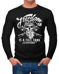Herren Long-Sleeve Biker Motorrad Motiv Freedom is a full Tank Skull Totenkopf Langarm-Shirt Neverless®
