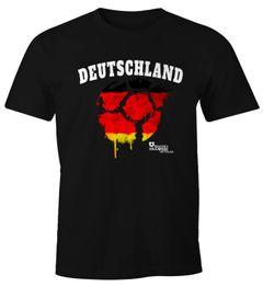 Herren T-Shirt Deutschland Fanshirt Vintage Fußball EM WM MoonWorks® Slimfit