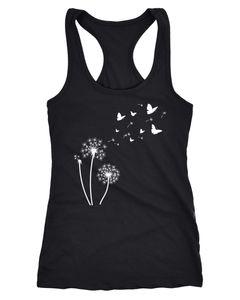 Damen Tank-Top Pusteblume Schmetterlinge Dandelion Butterflys Racerback Neverless®