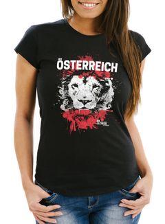 Damen T-Shirt Fanshirt Österreich Löwe Flagge Fußball EM WM Slim Fit MoonWorks®