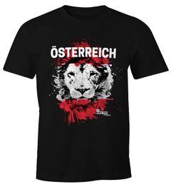 Herren T-Shirt Fanshirt EM WM Österreich Löwe Flagge Austria Fußball MoonWorks®
