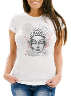 Damen T-Shirt Buddha Buddha-Kopf Mandala Slim Fit Neverless®