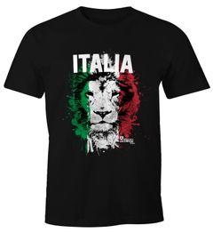 Herren T-Shirt Fanshirt Italien Fußball EM WM Löwe Flagge Italy Lion MoonWorks®