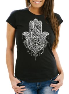 Damen T-Shirt Hamsa Fatimas Hand Mandala Boho Bohamian Ethno Tribal Ornament Slim Fit tailliert Baumwolle Neverless®