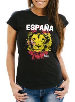 Damen T-Shirt Fanshirt Spanien Fußball EM WM Löwe Flagge España MoonWorks®