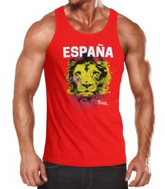 Herren Tanktop Fanshirt Spanien EM WM Fußball Löwe Flagge España MoonWorks®