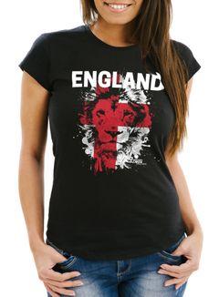 Damen T-Shirt Fanshirt England Fußball EM WM Löwe Flagge Slim Fit MoonWorks®