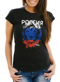 Damen T-Shirt Fanshirt Russland Russia Fußball EM WM Löwe Россия MoonWorks®