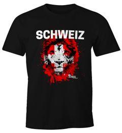 Herren T-Shirt Fanshirt Schweiz Fußball EM WM Löwe Suisse Switzerland MoonWorks®