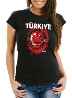 Damen T-Shirt Fanshirt Türkei Türkiye Turkey Fußball EM WM Löwe Flagge MoonWorks