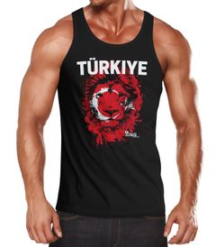 Herren Tanktop Fanshirt Türkei Türkiye Turkey EM WM Fußball Löwe MoonWorks®
