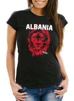 Damen T-Shirt Fanshirt Albanien Albania Fußball EM WM Löwe Shqipërisë MoonWorks®