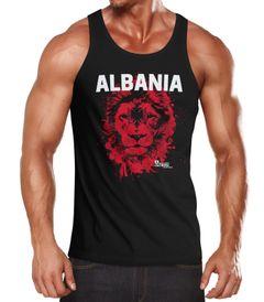 Herren Tanktop Fanshirt Albanien Albania EM WM Fußball Löwe Shqipërisë MoonWorks
