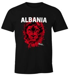 Herren T-Shirt Fanshirt Albanien Albania Fußball EM WM Löwe Shqipërisë MoonWorks