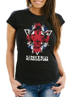 Damen T-Shirt - Great Britain UK United Kingdom Lion Flagge Fahne Farben - Comfort Fit MoonWorks®