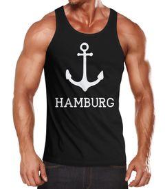 Herren Tank-Top mit Anker Aufdruck Hamburg Moonworks®