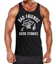 Stylishes Herren Tank-Top Bad Friends Good Stories Bier Alkohol Party Shirt Moonworks®