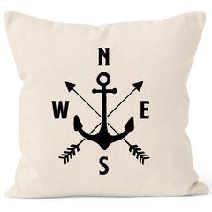 Maritimer Kissen-Bezug Anker Kompass Arrows Kissen-Hülle Deko-Kissen Baumwolle MoonWorks®