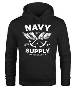Hoodie Herren Motiv Maritim Nautical Design Schriftzug Navy Supply Anker mit Flügeln Kapuzen-Pullover Männer Neverless®