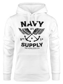 Hoodie Damen Motiv Maritim Nautical Design Schriftzug Navy Supply Anker mit Flügeln Kapuzen-Pullover Neverless®