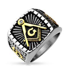 Freimaurer Ring Herren Edelstahl Tempelritter Ring Masonic Siegelring Symbol G